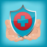 Red Cross Shield Hand Hold Vector Stock Image