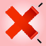 Red cross symbol from paint roller brush Royalty Free Stock Photos