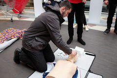 Red Cross training for artificial respiration Royalty Free Stock Images