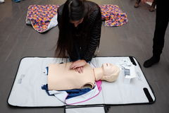 Red Cross training for artificial respiration Royalty Free Stock Photos
