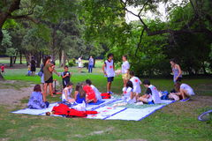Red cross volunteers educational action. Red cross teen volunteers action. Academy of volunteers is a national summer camp of the  Bulgarian Red Cross Stock Image