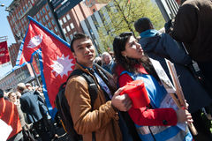 Red Cross volunteers raise funds for Nepal earthquake relief Royalty Free Stock Photography