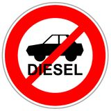 Red crossed traffic sign restricting diesel cars to enter. After german emission scandal stock illustration