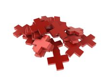 Red Crosses. A small pile of red 3d crosses stock illustration
