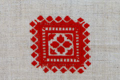 Red crosses embroidered pattern in national style Royalty Free Stock Image