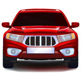 Red crossover car with blank number plate. Modern red crossover car with blank number plate isolated on white background. Vector. Front view royalty free illustration
