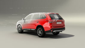 Red crossover. Crossover 3d render with a mesh Royalty Free Stock Photos
