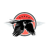 Red crow label. Black crow is flying on the red round background Stock Photo