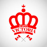 Red crown with flag Canada for Victoria day Royalty Free Stock Photo