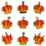 Red crown style collection doodles Royalty Free Stock Photo