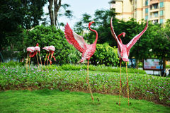 Red crowned  crane sculpture in garden Stock Photography
