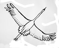 Flying goose sketch Stock Images