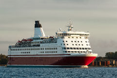 Red cruise liner. Passenger ferry sailing from Riga to Stockholm royalty free stock photo