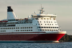 Red cruise liner`s bow. Passenger ferry underway stock image