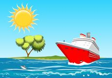 Red cruise liner swimming in the ocean, vector illustration