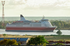 Red cruise ship. Passenger ferry sailing around the Riga city stock images