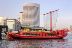 Red cruise yakatabune traditional japanese style on Tokyo bay Stock Image