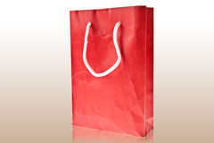 Red Crumpled paper bag on white background Royalty Free Stock Images