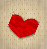 Red crumpled paper heart for Valentine Day Royalty Free Stock Photos