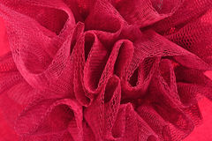 Red crumpled tulle close up Stock Photos