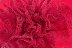 Red crumpled tulle close up Royalty Free Stock Images