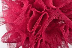 Red crumpled tulle close up Stock Photography