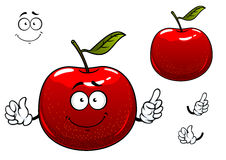 Red crunchy apple fruit cartoon character. Fresh crunchy red apple fruit cartoon character with glossy peel, green leaf and cheerful smile including second Royalty Free Stock Images