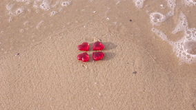 Red crystal heart in sea Royalty Free Stock Image