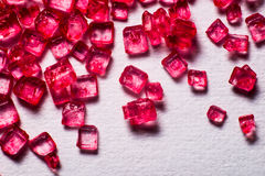 Red crystal lollies. Red gem lollies close up Stock Images
