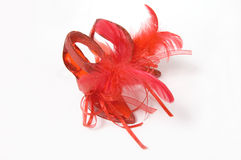 Red crystal slippers with feathers Stock Photo