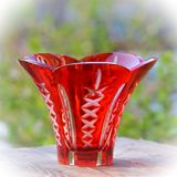 Red crystal vase on table Stock Photo