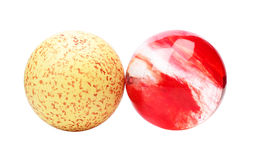 Red crystal and yellow stone balls Royalty Free Stock Photography