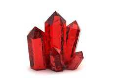 Red crystals 3D model Royalty Free Stock Photos