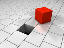 Red Cube. Next to the hole, puzzle, 3d render Stock Photos