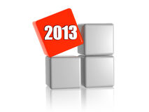 Red cube with 2013 on boxes. 3d red cube with year 2013 on grey boxes Royalty Free Stock Photos