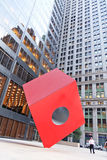 Red Cube. Federal Hall & Vicinity - New York City, New York - Red Cube Sculpture by Isamu Noguchi Stock Photos