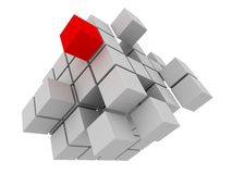 Red cube. 3d rendered illustration of some grey and one red cube Royalty Free Stock Images