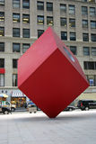 Red Cube. A sculpture of a red cube in the financial disctrict of New York City Royalty Free Stock Images