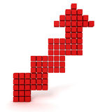 Red cube arrow going up on white background. 3d render illustration of success Royalty Free Stock Photography