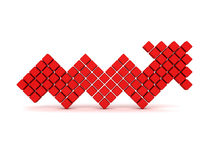 Red cube arrow going up on white background. 3d render illustration of success Stock Photos
