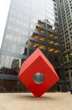 Red cube art in new york Stock Photo