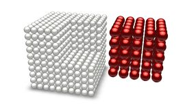 Red cube with ball parts. Missing red part from white cube Royalty Free Stock Image