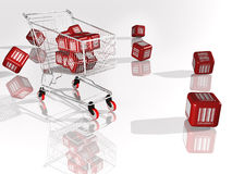 Red Cube with Bar Code. Shopping cart Stock Photos