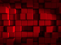 Red Cube Blocks Abstract Design Background. 3d Render Illustration Stock Illustration
