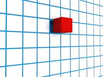 Red cube blue grid. 3D red cube on a blue grid or matrix Royalty Free Stock Photography