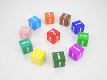 Red Cube in Center of Colored Cubes1 Royalty Free Stock Photo