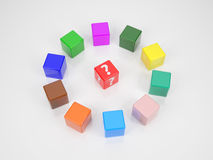 Red Cube  in Center of colored Cubes Stock Photos