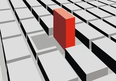 Red cube in 3d background. Red cube in grey background as 3d graph Royalty Free Stock Photography