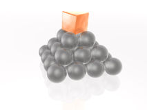 Red cube and grey spheres Stock Photo