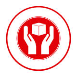 Red cube in the hands emblem icon. Illustraction design Stock Images